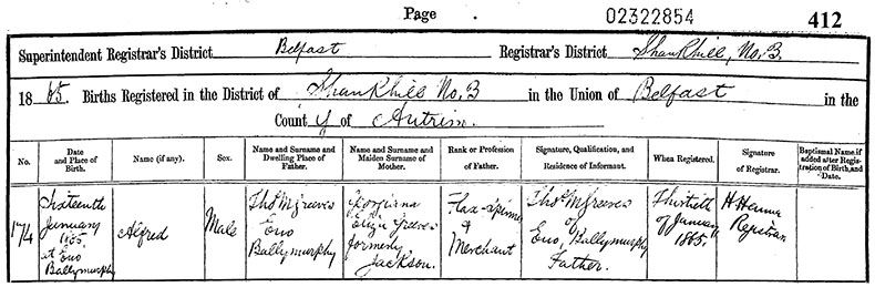 Birth Certificate of Alfred Greeves - 16 January 1865