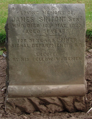 Headstone of James Sinton 1872 - 1923